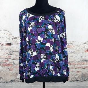 torrid Sweaters - Torrid 0 Black Purple Skull Floral Chiffon Sweater
